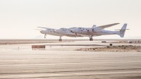 SpaceShipTwo taking off from the Mojave Air and Space Port mated to its carrier aircraft WhiteKnightTwo